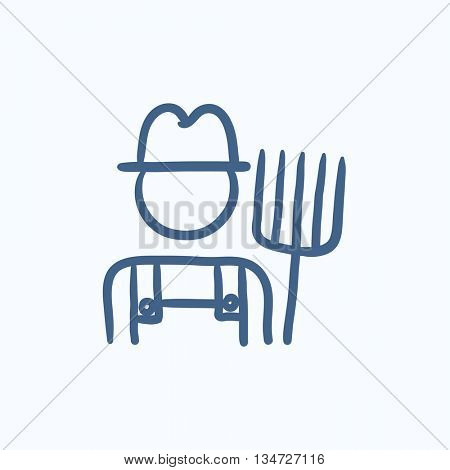 Farmer with pitchfork vector sketch icon isolated on background. Hand drawn Farmer with pitchfork icon. Farmer with pitchfork sketch icon for infographic, website or app.