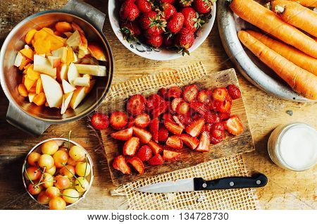 Summer Salad With Fresh Home-natural Fruits And Vegetables. Prep