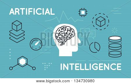 Modern Thin Line Concept of Artificial Intelligence Functions and Capabilities. Thin line flat design infographics banner for website and mobile website easy to use and highly customizable