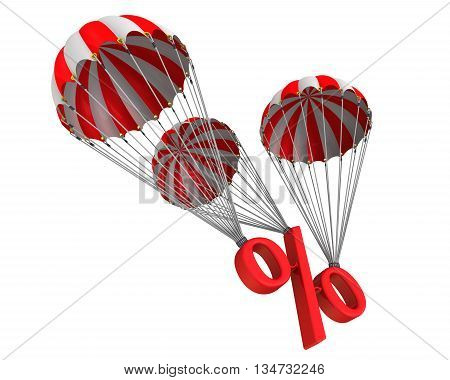 Symbol percent reduced by parachute. The red percent sign is falling down on three parachutes. The concept of reducing the interest rate. Isolated. 3D Illustration
