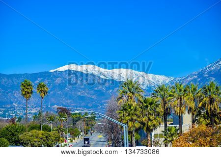 Los Angeles snowy mountains in the background