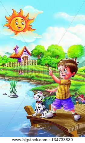 Sun Rhyme for Nursery Kids/ Boy is watching sun