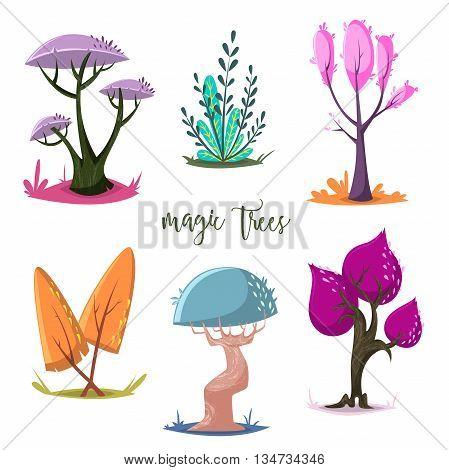 Magic trees set. Isolated elements. Cartoon vector illustration