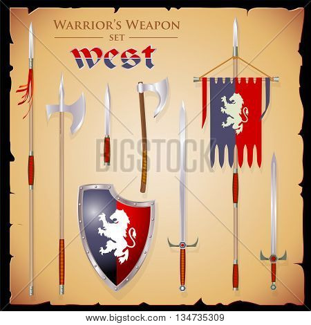 Set short-range weapons in the same style West elegant rigorous with a English shield and flag with lion on parchment background.