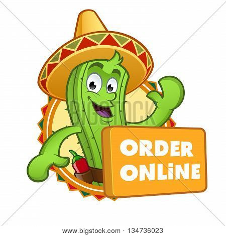 Sympathetic cactus with a button where it says online order