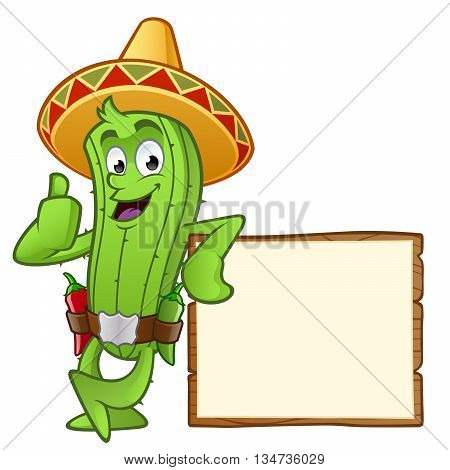 Sympathetic cactus, has a sign with a space to put your text