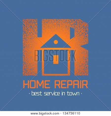 House repair and remodel vector logo. Home rebuilding concept
