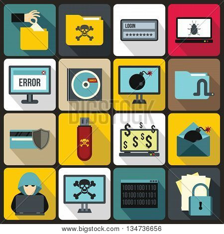 Criminal activity icons set in flat style for any design
