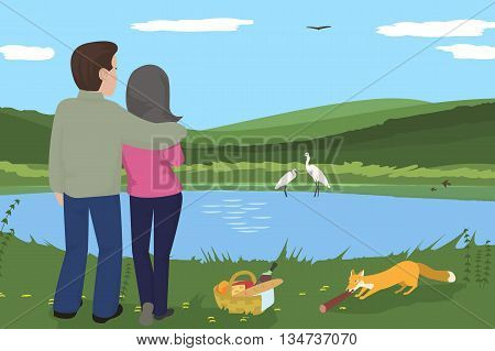 couple having picnic at wilderness - funny cartoon vector illustration