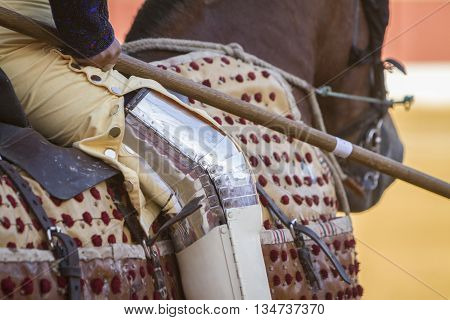 Andujar, Spain - September 11 2010: Picador bullfighter lancer whose job it is to weaken bull's neck muscles in the bullring for Jaen Spain