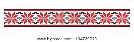 Moldovian traditional floral pattern red and black