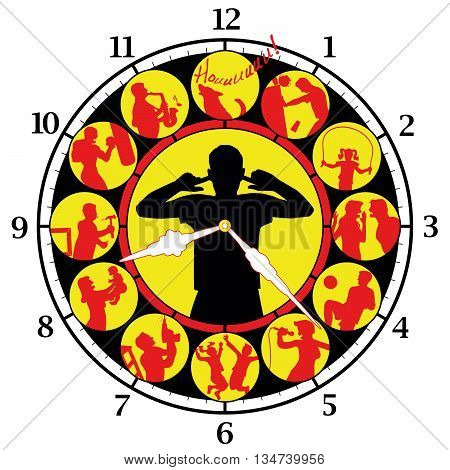 Neighborhood noise day and night - figured as a clock face with fussing neighbors around the clock. Vector illustration on white background.