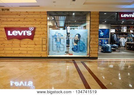 KUALA LUMPUR, MALAYSIA - MAY 09, 2016: Levi's store in Suria KLCC. Levi Strauss & Co. is a privately held American clothing company known worldwide for its Levi's brand of denim jeans.