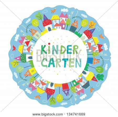 Frame for kindegarten banner with funny town trees and birds cute design. Vector graphic illustration
