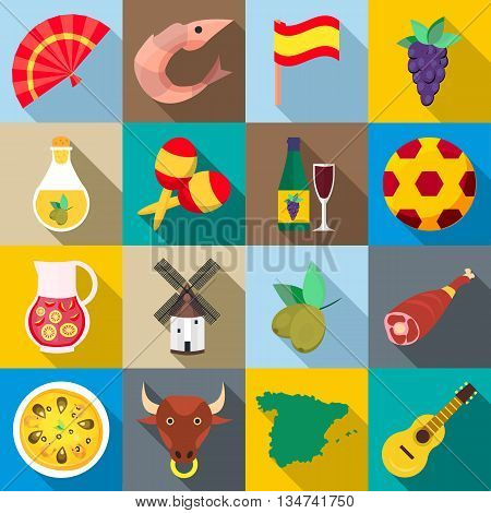 Spain icons set in flat style for any design