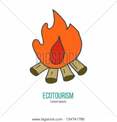 Bonfire. Ecotourism colorful flat design element isolated on a white background. Emblem, design concept, logo, logotype template. Hand drawn doodle vector illustration.