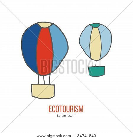 Air balloons. Ecotourism colorful flat design element isolated on a white background. Emblem, design concept, logo, logotype template. Hand drawn doodle vector illustration.
