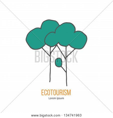 Deciduous trees. Ecotourism colorful flat design element isolated on a white background. Emblem, design concept, logo, logotype template. Hand drawn doodle vector illustration.
