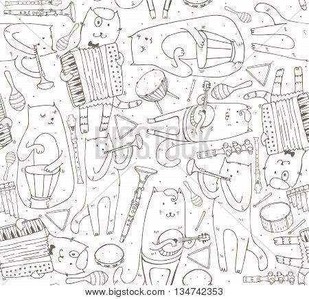 Seamless pattern with musician cats and music instruments. Cats are playing on drum accordion tube guitar. Vector handdrawn illustration cute black and white. Kind child cartoon for kids products.