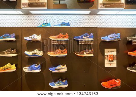 KUALA LUMPUR, MALAYSIA - MAY 09, 2016: Nike store in Suria KLCC. Suria KLCC is located in the Kuala Lumpur City Centre district. It is in the vicinity of the landmark the Petronas Towers.