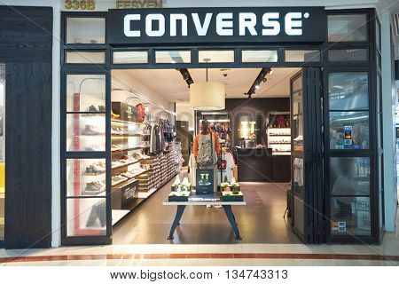 KUALA LUMPUR, MALAYSIA - MAY 09, 2016: Converse store in Suria KLCC. Suria KLCC is located in the Kuala Lumpur City Centre district. It is in the vicinity of the landmark the Petronas Towers.