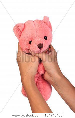 Strangling Teddy Bear. Stop Violence Against Children.