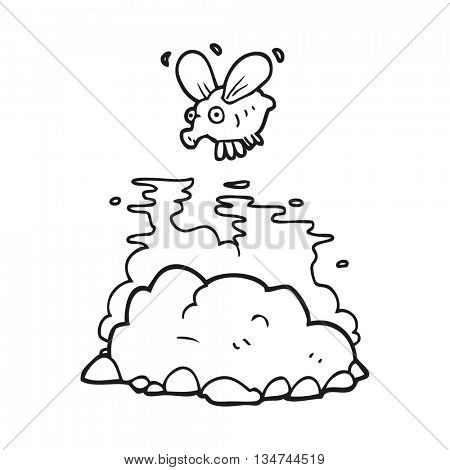 freehand drawn black and white cartoon fly and manure