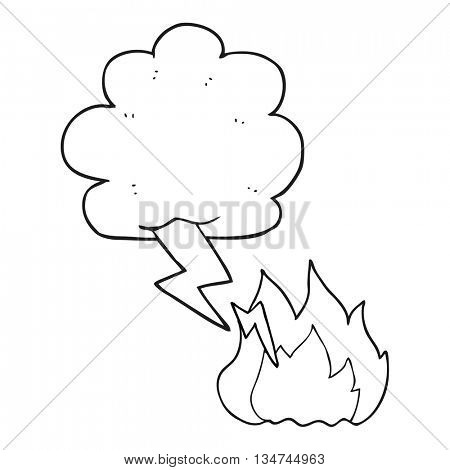 freehand drawn black and white cartoon thundercloud lightning strike