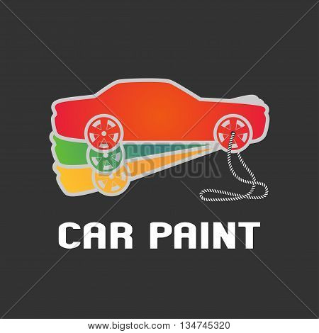 Car paint vector logo template. Car airbrushing concept