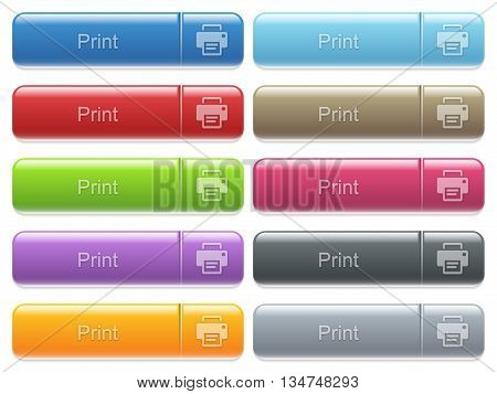 Set of print glossy color captioned menu buttons with embossed icons