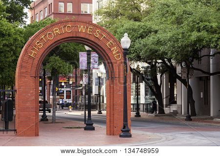 DALLAS USA - APR 8: Historic West End District in the city of Dallas. April 8 2016 in Dallas Texas United States