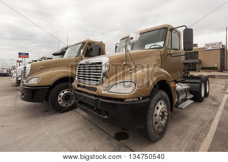 DALLAS USA - APR 9: New Freightliner Flatbed Trucks at the dealership. April 9 2016 in Dallas Texas United States