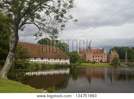 Egeskov castle located in the south of the island of Funen in Denmark