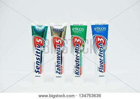 Berezovitsa, Ukraine - Circa June, 2016: Set Of Toothpaste Elkos Dental