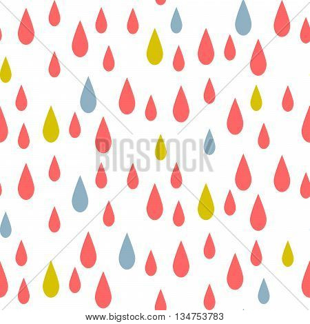 Rain drops seamless vector pattern. Red and blue rainfall in the sky on white background. Minimalist style textile fabric kid cartoon ornament.