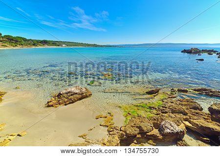 rocks and sand in Le Bombarde beach Sardinia