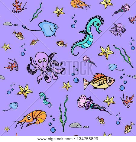 Hand drawn seamless pattern with fish starfish octopus seahorse coral shrimp stingrey jellyfish. Ocean vector texture of sea animals. Underwater life design. Tropical sea life background
