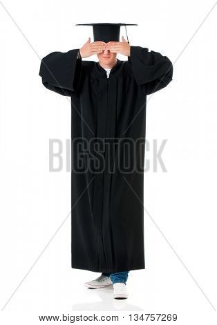 I do not see, do not speak, can not hear anything - full length portrait of a caucasian man graduate, isolated on white background