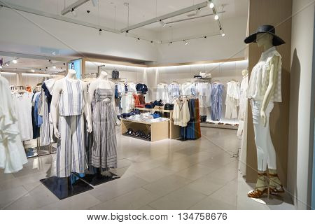 KUALA LUMPUR, MALAYSIA - MAY 09, 2016: interior of MANGO store in Suria KLCC. Punto Fa, S.L., trading as MANGO, is a clothing design and manufacturing company, founded in Barcelona, Catalonia