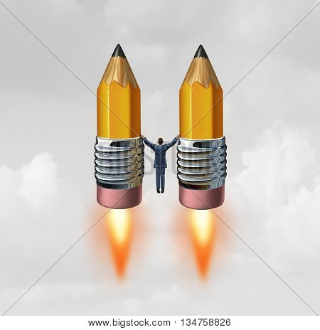 Business creative rocket concept as a businessman holding two pencils with rocket engine flames blasting off upwards towards success with 3D illustration elements.