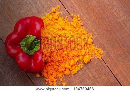 Powder And Fresh Red Paprika