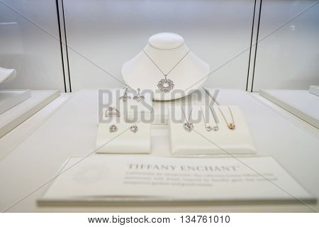 KUALA LUMPUR, MALAYSIA - MAY 09, 2016: interior of Tiffany store. Tiffany & Company is an American worldwide luxury jewelry and specialty retailer, headquartered in New York City