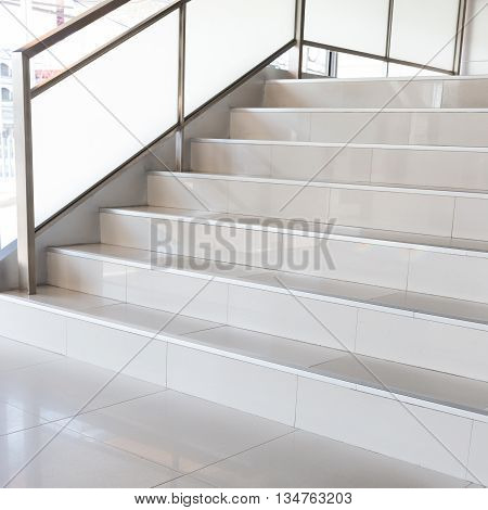 white stairs in modern business office, interior design