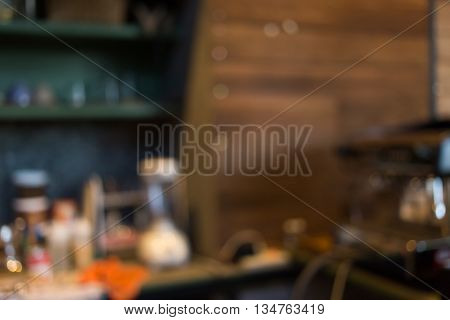 Cafe Coffee Shop Blur Background With Bokeh Defocused Light