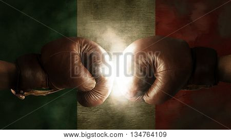 Boxing Gloves With The Flag Of Italy Or Mexico
