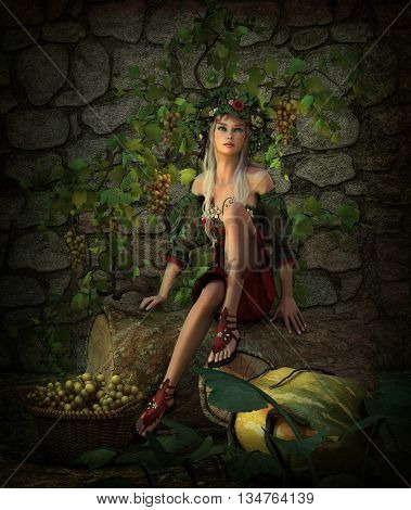 3d computer graphics of a girl sitting on a tree stump with a basket full of grapes and a pumpkin