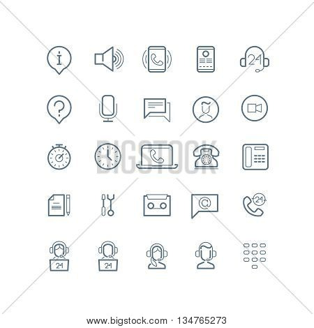 Support service vector line icons. Support phone, support chating, gadget support service illustration