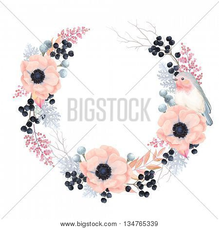 Floral Wreath with flowers Anemones, leaves, branches, wild Privet Berry and Robin bird,