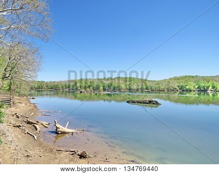 The landscape of Potomac River near Washington DC April 2016 USA