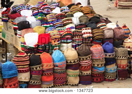 colourful fez market stall in the marrakech souk. poster